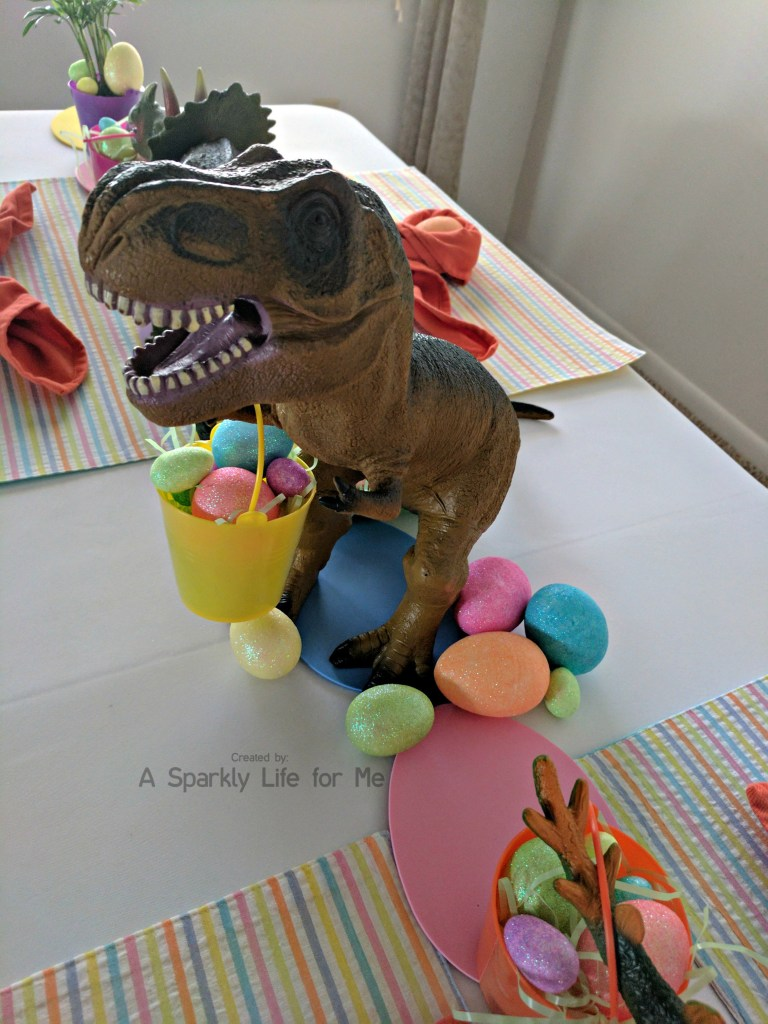 T Rex Dino Easter Egg Hunt Table Decor