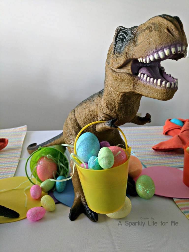 T Rex Dino Easter Egg Hunt Table Decor – by A Sparkly Life for Me