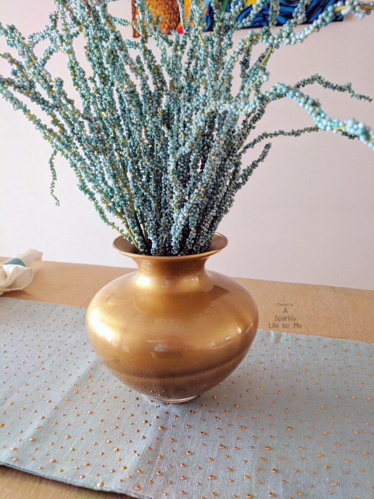 Easy Blue and Gold Table Centerpiece with DIY