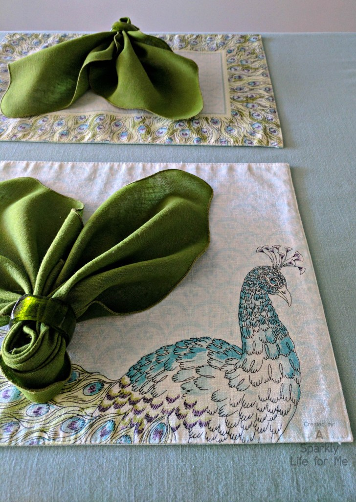 Watercolor Peacock Place Mats and Leaf Fold Napkin - by A Sparkly Life for Me