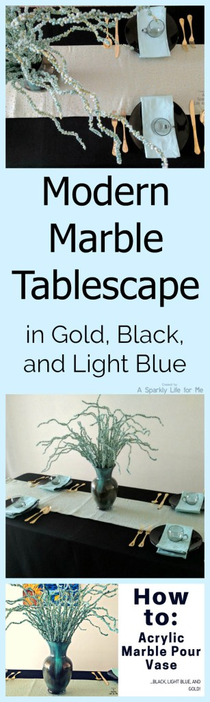 Modern Marble Tablescape in Gold Black and Light Blue