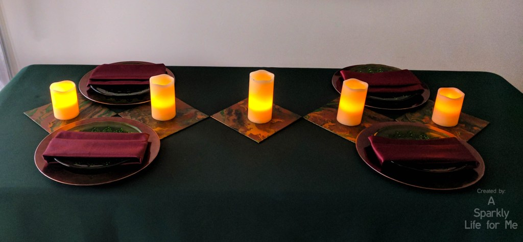 midsummer marble table decor with DIY marble accents and LED candle runner