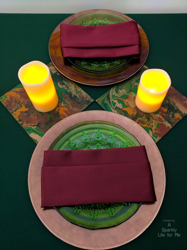 modern midsummer marble place settings with LED candle runner table decor with DIY fluid acrylic table runner accents