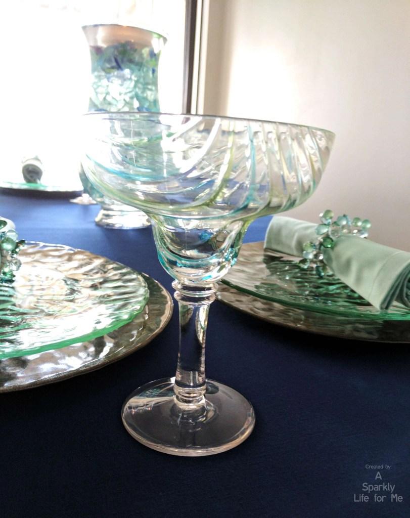 Margarita Glass with Blue Green Swirls on Sea Glass Hues Table Decor
