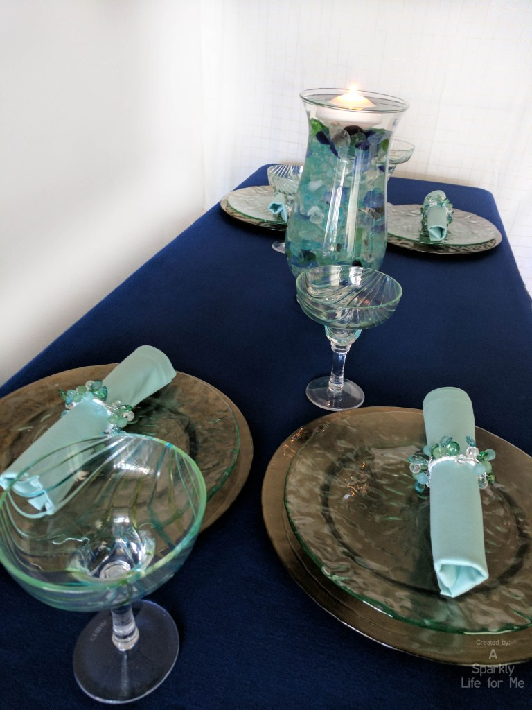 Modern Beach and Sea Glass Inspired Table Decor from Thrift Store Items