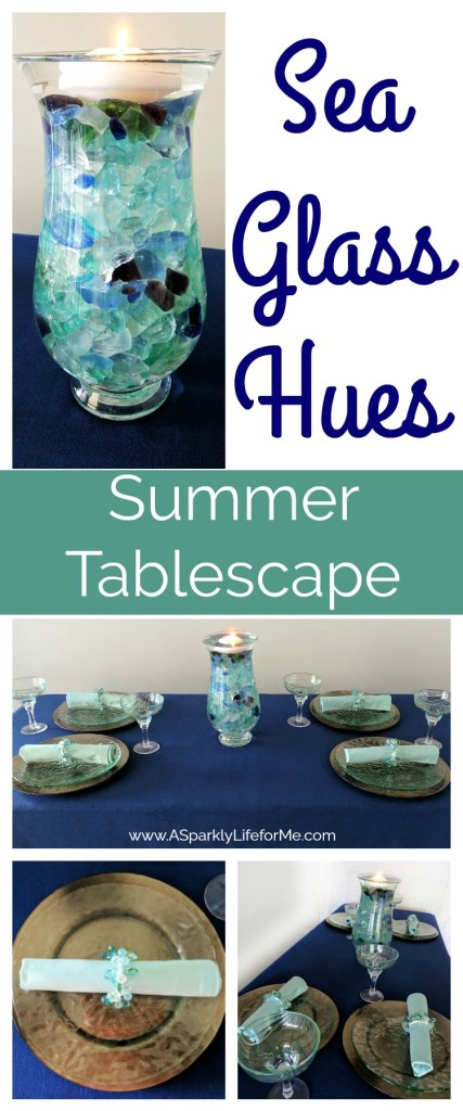 Sea Glass Hues Summer Tablescape by A Sparkly Life for Me