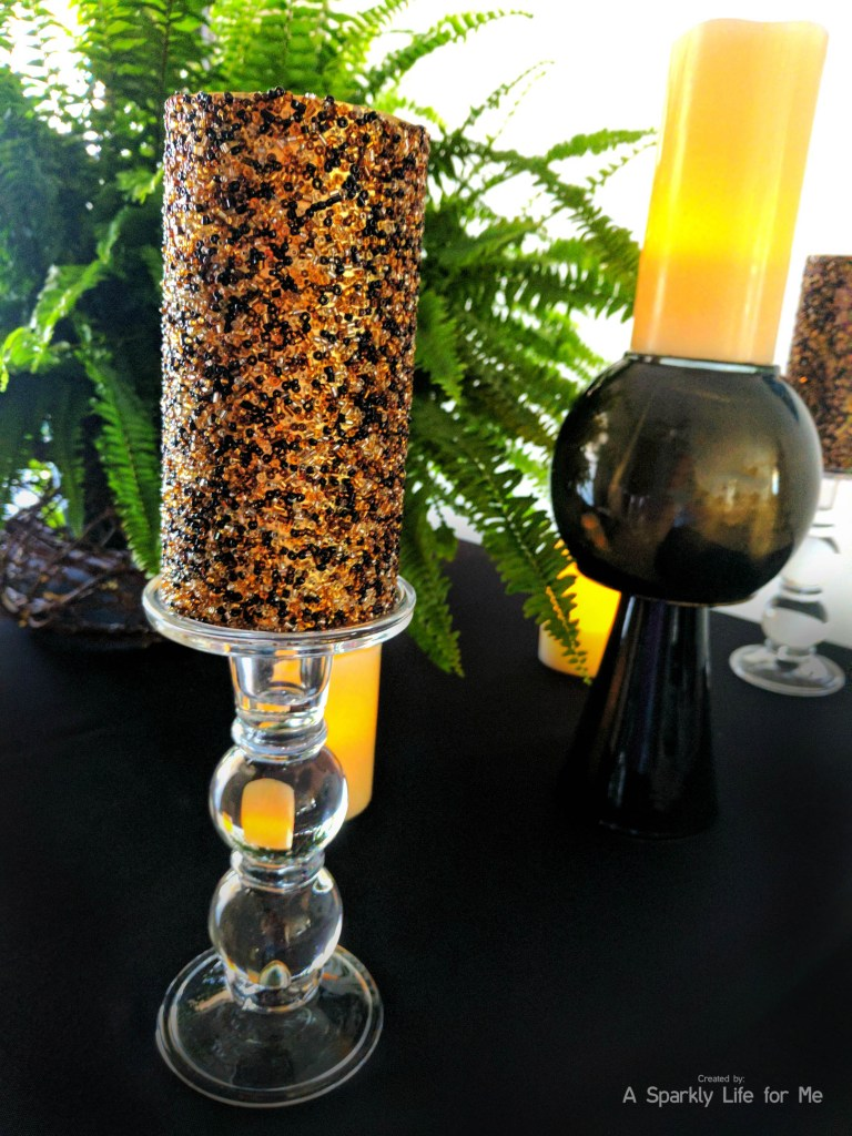 Black and gold DIY marble vase and jungle table decor