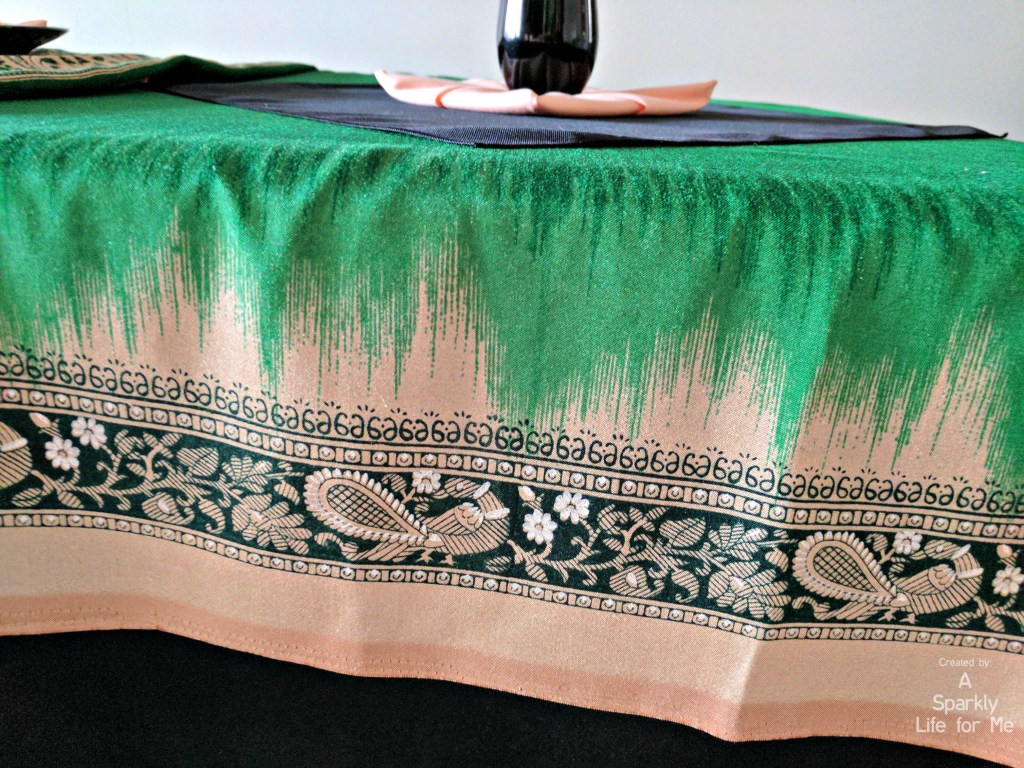 Peacock print sari in black green and peach from thrift stores - by A Sparkly Life for Me