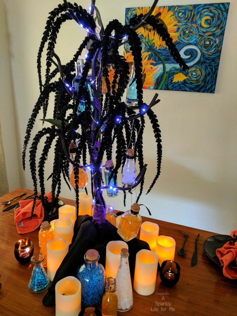 DIY Glowing Potion Tree Centerpiece and Table Decor with LED Fairy Lights and Candles by A Sparkly Life for Me