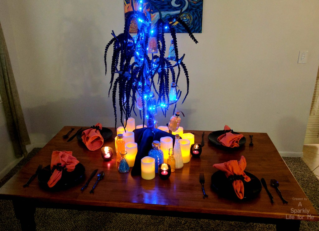 DIY Glowing Potion Tree Tablescape for Harry Potter Party or Halloween by A Sparkly Life for Me