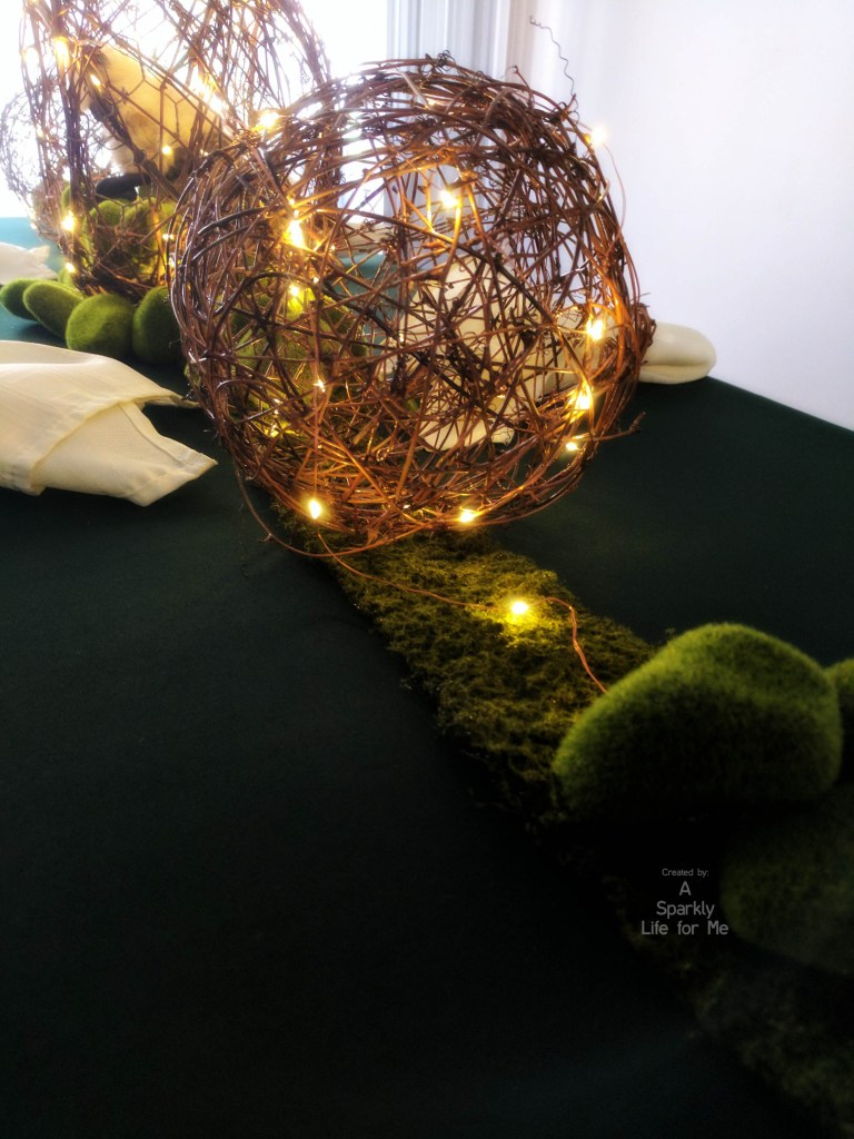 DIY Grapevine Ball Garden Table Centerpiece with Fairy Lights and Moss Rocks – by A Sparkly Life for Me