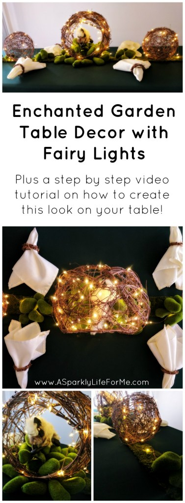 Enchanted Garden Table Decor with Fairy Lights with DIY step by step tutorial - by A Sparkly Life for Me