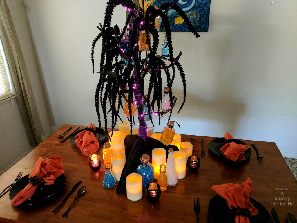 Harry Potter inspired Glowing Potion Tree centerpiece with multicolor LED fairy lights - by A Sparkly Life for Me