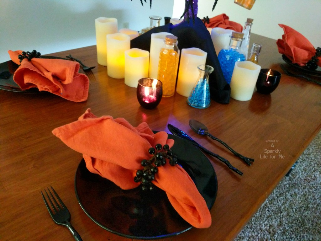 Thrift Store and DIY based potion inspired tablescape in daylight by A Sparkly Life for Me