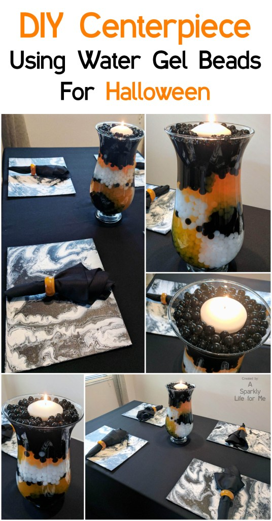 DIY Water Gel Bead Centerpiece in Black White and Orange by A Sparkly Life for Me