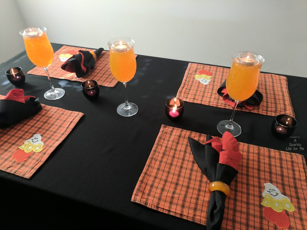 Thrift store halloween table decor by A Sparkly Life for Me