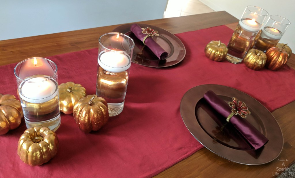 Thrift store metallic thanksgiving table decor and centerpiece for 2 by A Sparkly Life for Me