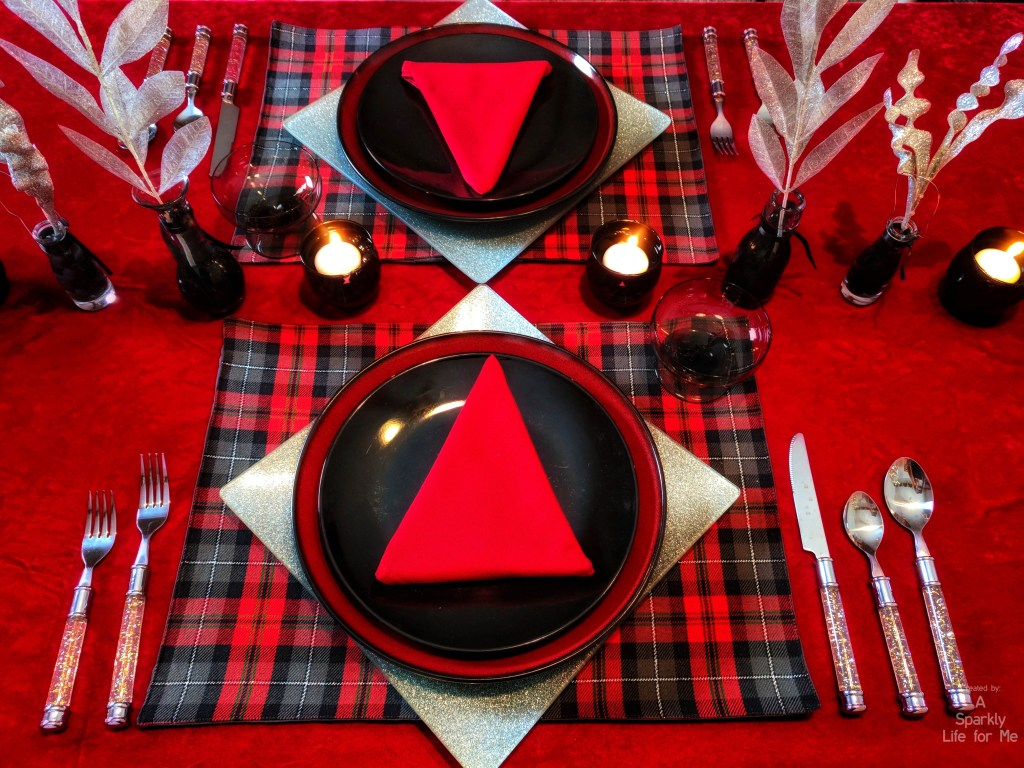 Buffalo Plaid with a Touch of Silver Sparkle – Christmas Table Decor for Two