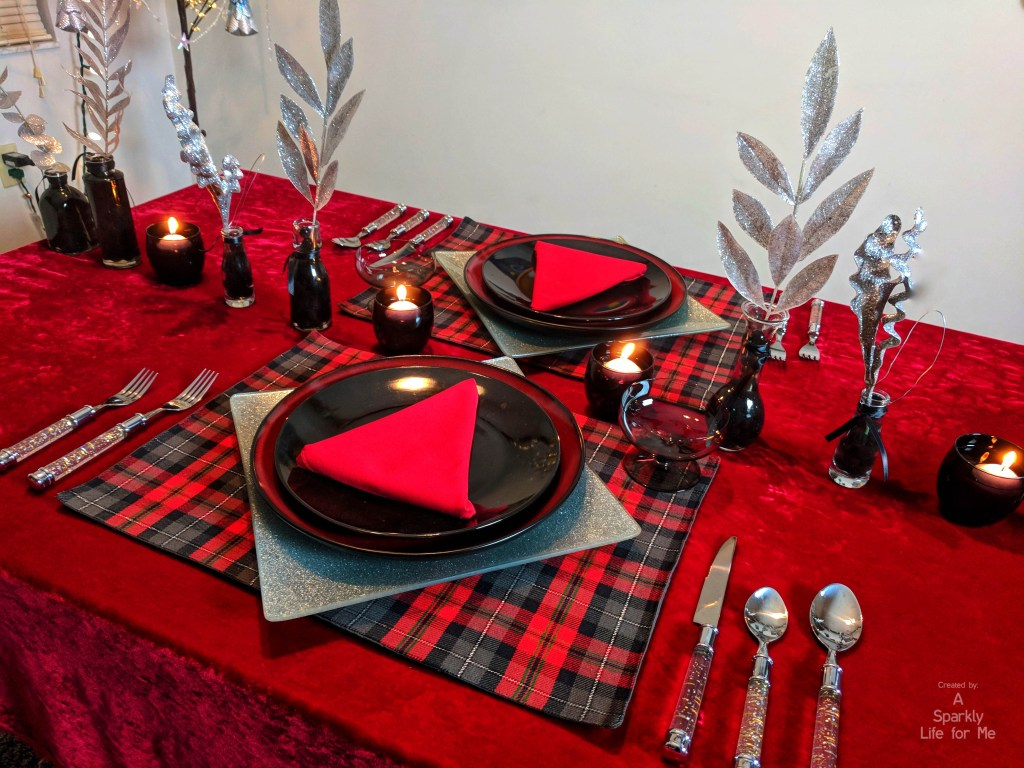 Buffalo plaid and silver sparkle table for two - table decor for christmas by A Sparkly Life for Me