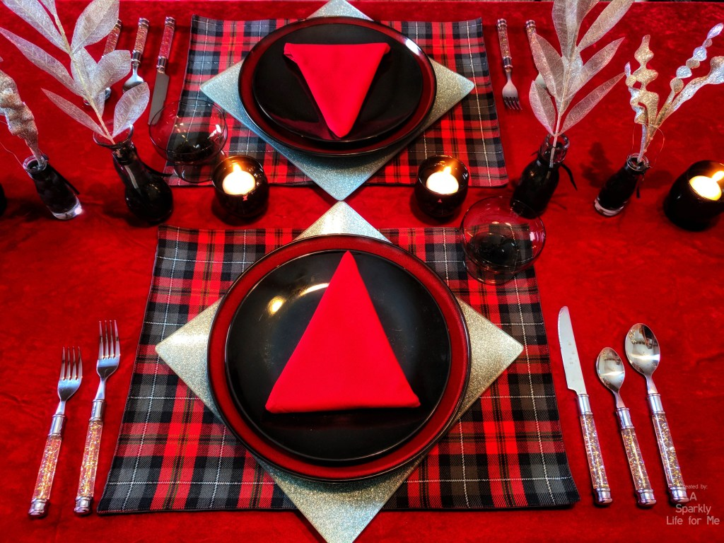 DIY buffalo plaid and silver sparkle christmas table decor