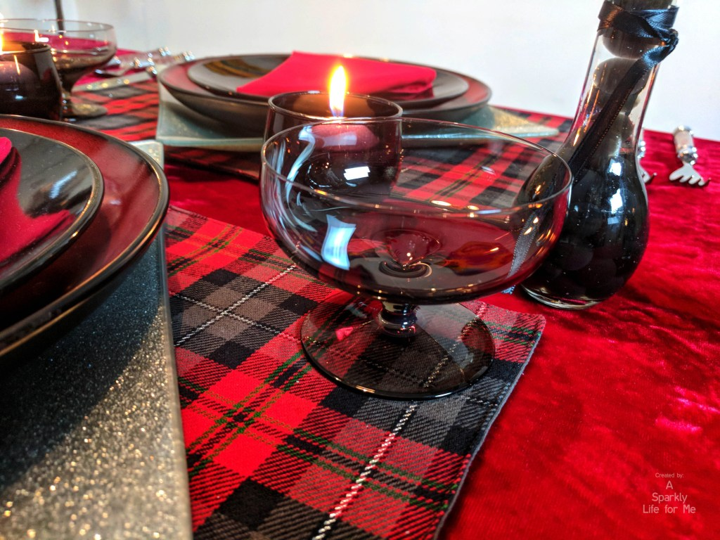 Thrift store christmas place setting and glassware