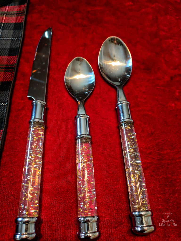 glitter resin or acrylic flatware silverware from thrift store - A Sparkly Life for Me