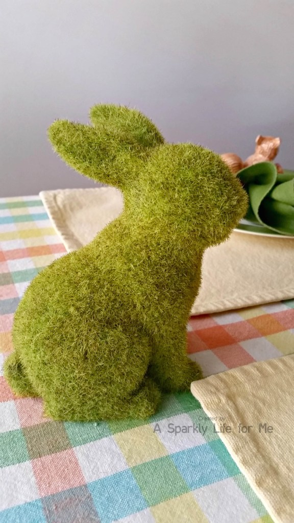 Fuzzy Moss Bunnies Spring Table Decor
