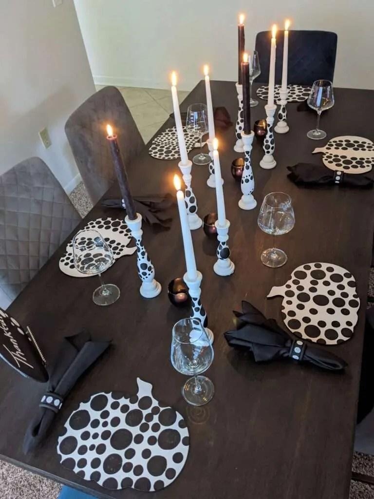 Kusama Inspired Black and White Dot Table Decor - Pumpkins for Thanksgiving