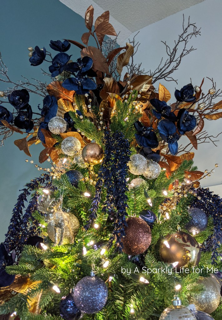 Blue, Copper, and Bronze Floral Tree Topper by A Sparkly Life for Me