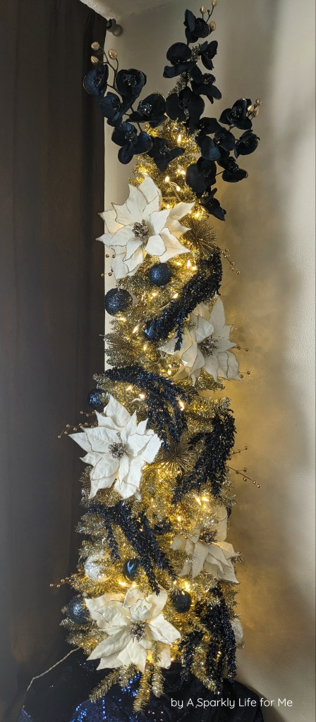 Champagne Tinsel Tree with Navy and White Accents