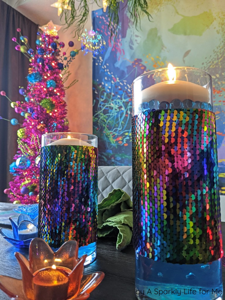 Floating Candles with Removable Sequin Trim