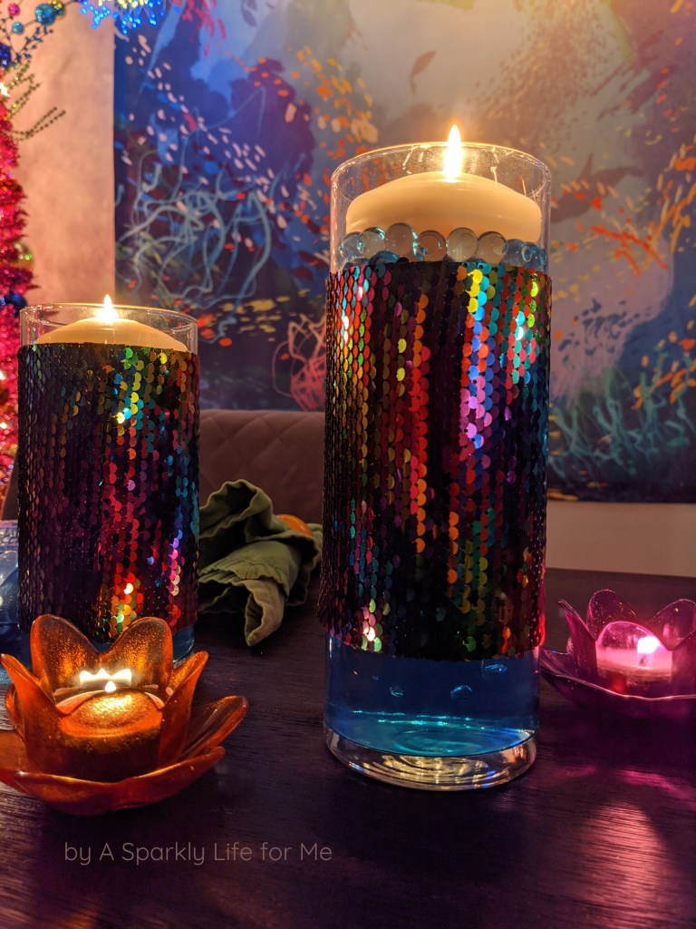 Sequin Trimmed Cylinders with Floating Candles - easy DIY