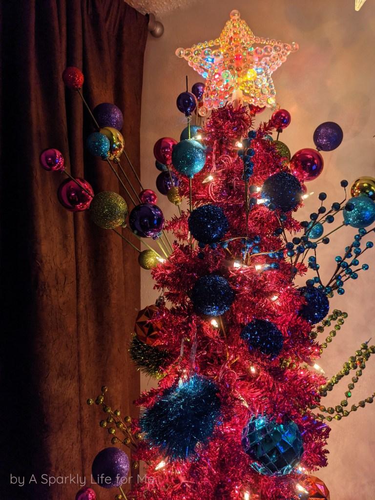 Pink Tinsel Pencil Tree - Colorful Christmas