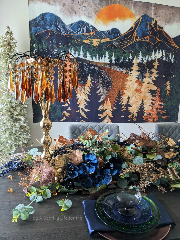 Glamorous Garland with Navy Blue, Eucalyptus and Mixed Metals. Table Decor for Fall, Thanksgiving and the Holidays! Inspired by a mountain tapestry.
