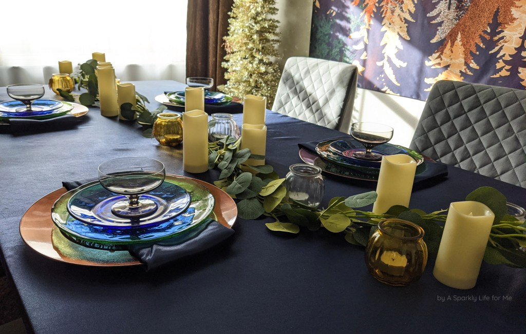 Fall Tablescape with Navy, Greenery Garland, and LED Candles
