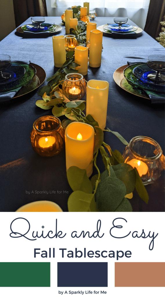 Simple and Elegant Eucalyptus Garland Table Runner - Navy Fall Decor DIY