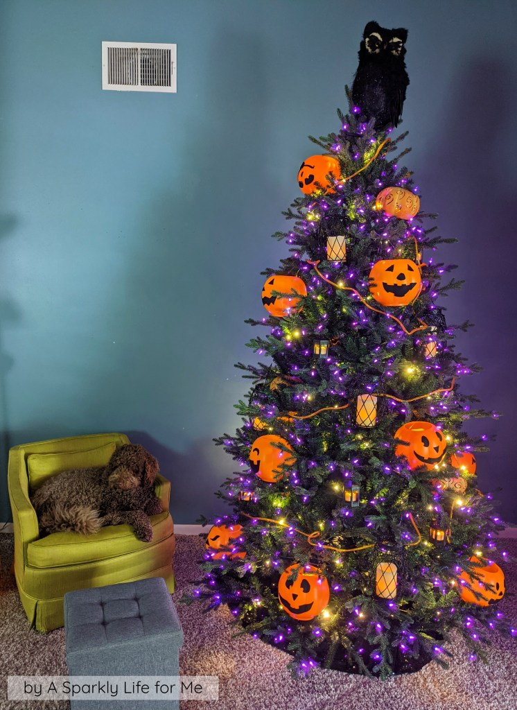 Easy Halloween Tree with $1 Pumpkins and LED Candles