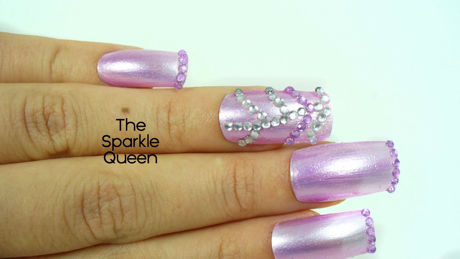 Rhinestone Freestyle Nail Art – FingerFood\'s Theme Week - A Sparkly ...