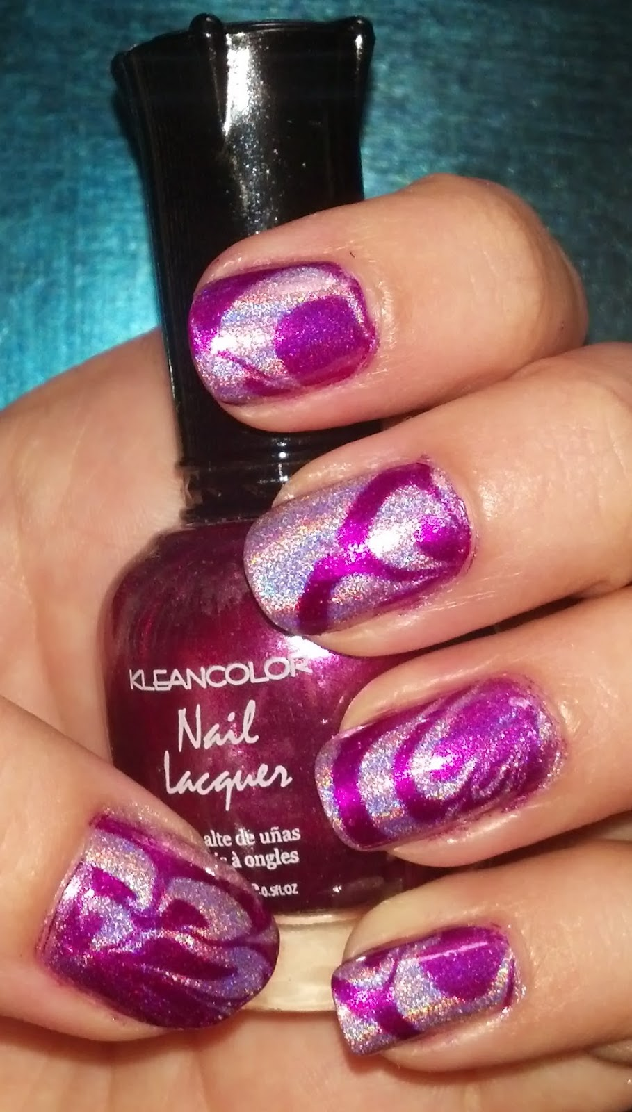 Water marble nail art in fuchsia holographic video tutorial a water marble nail art in fuchsia holographic tutorial prinsesfo Choice Image