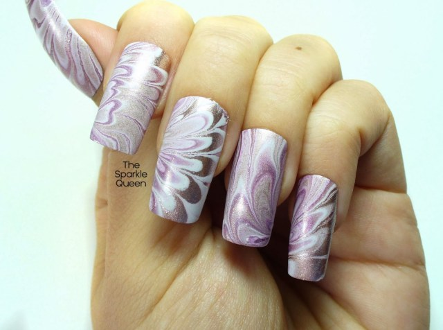 A Pretty Water Marble Manicure Nail Art Video Tutorial A Sparkly