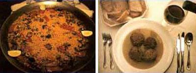 Comidas típicas: arroz caldosico de cerdo y las pelotas
