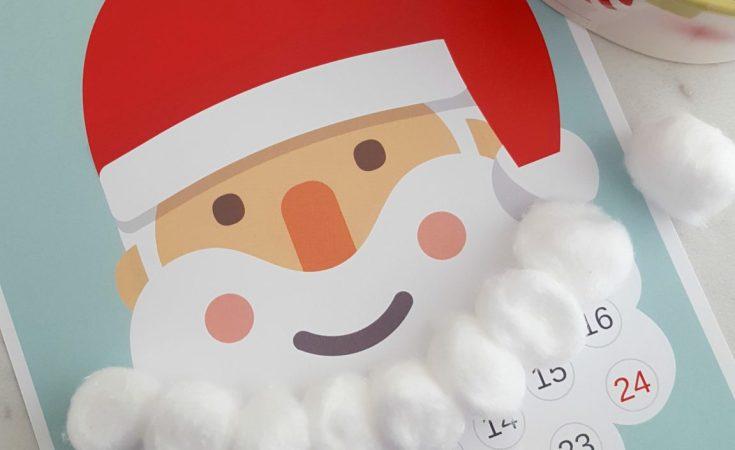 Countdown to Christmas Santa Advent Calendar - Free Printable