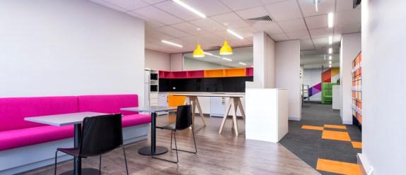 Colorful breakout area, agile office design
