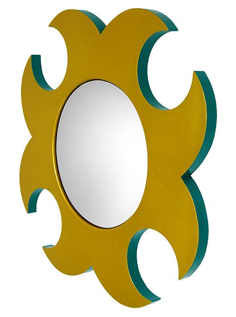 miroir mural rond doré