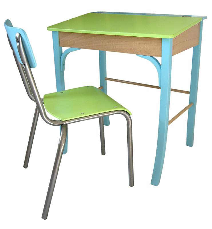 pupitre et chaise d'écolier vintage