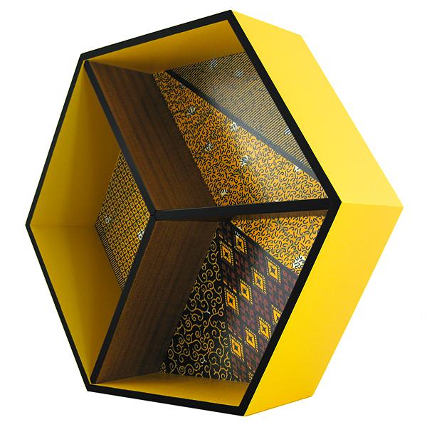étagère hexagonale murale