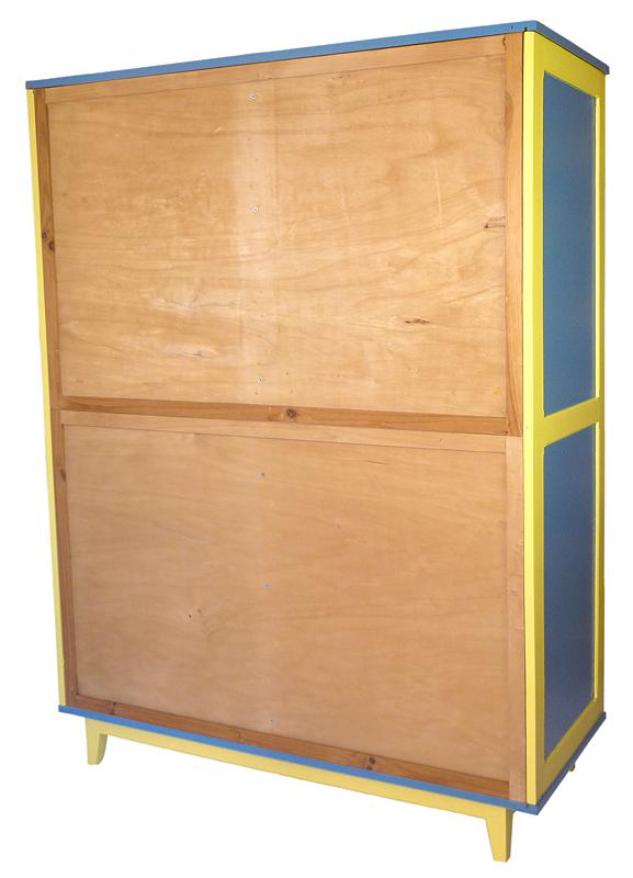 armoire portes coulissantes vintage bleue et jaune