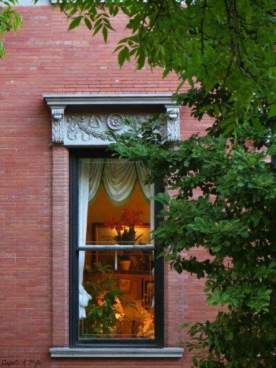 window on Commonwealth Avenue, Back Bay Boston