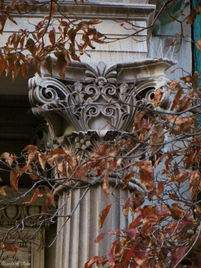 architectural details on Commonwealth Avenue, Back Bay Boston