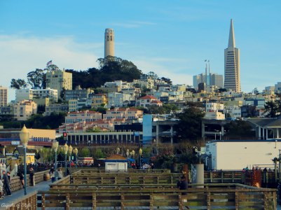 view of Telegraph Hill from Pier 39